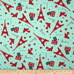Moda Kiss Kiss Paris Love Aqua from @fabricdotcom  Designed by Abi Hall for Moda, this cotton print is perfect for quilting, apparel and home decor accents. Colors include red, pink, aqua, and black.