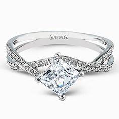 "http://rubies.work/0904-sapphire-pendant/ Simon G. Princess Cut ""Twist"" Split Shank Diamond Engagement Ring"