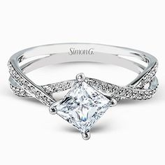 "http://rubies.work/0904-sapphire-pendant/ Simon G. Princess Cut ""Twist"" Split Shank Diamond Engagement Ring"