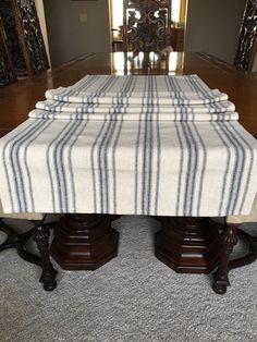 Vintage Inspired Grain Sack Fabric Table Runner Two Stripes    Recipes/gardens/patterns   Pinterest   Grain Sack