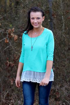 Oh La La Lace Trim Top {Mint} | The Fair Lady Boutique #mint #lace #comfy #springoutfit