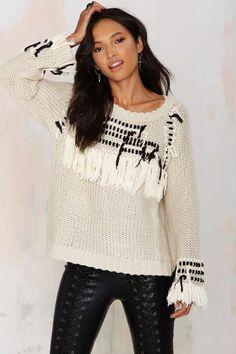 Knitz by For Love and Lemons Denver Fringe Sweater