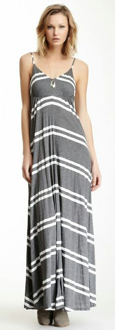 Grey and White Striped Maxi - Looks comfy!