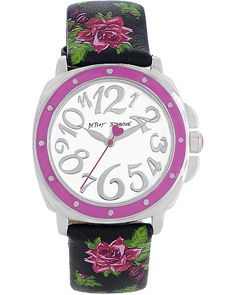ROSE PRINTED STRAP WATCH BLACK accessories jewelry watches fashion by Betsey Johnson