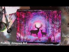Deer in The Forest Spray paint art - Watch Video Spray Paint Artwork, Spray Paint Canvas, Painting Wallpaper, Spray Painting, Medan, Spray Can Art, Art Watch, Pastel Art, Tag Art