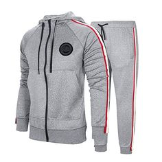 Manluo Mens Tracksuits Slim Sweatsuits Letter Pattern Hooded Jogging Suits