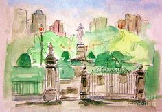 Boston Public Gardens Painting  - Boston Public Gardens Fine Art Print