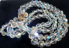 Multi 2 Strand Chain Strung Crystal Quartz Graduated Bead Vintage Necklace   eBay