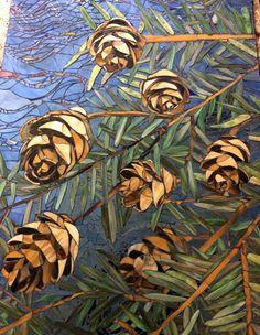 Mosaic pine cone detail... Mosaic Crafts, Mosaic Projects, Mosaic Art, Mosaic Glass, Fused Glass, Glass Art, Mosaic Ideas, Mosaic Flowers, Kiesel