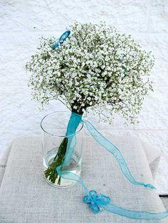 Gypsophila bouquet and colour ribbon Wedding Humor, Wedding Vows, Our Wedding, Wedding Things, Vintage Wedding Theme, Wedding Colors, Gypsophila Bouquet, November Wedding, Wedding Inspiration