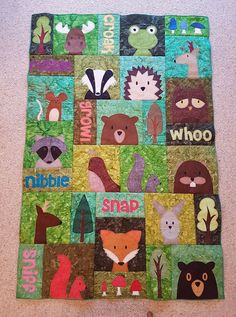 ***Super Show & Tell*** Look at Hannah's spectacular Woodland Critters quilt! I love the extra animals she added! Pattern: http://shop.shinyhappyworld.com/collections/quilt-patterns/products/woodland-critters-quilt-pattern