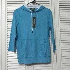 Ralph Lauren Active Top NWT Turquoise/white striped hooded 3/4 sleeve with pocket in front. Ralph Lauren Tops Sweatshirts & Hoodies