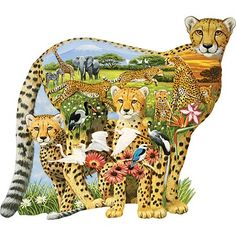 Cheetah Family 300 Large Piece Shaped Jigsaw Puzzle