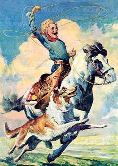 Cowboy Round-Up Vintage Art Print