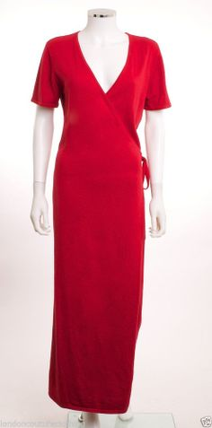 NINA LEONARD V-NECK FRONT SELF TIE SHORT SLEEVE RED KNIT WRAP DRESS SZ SMALL