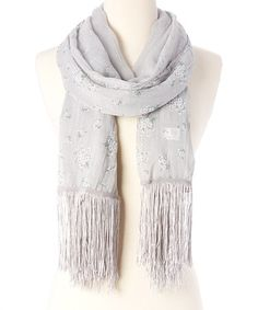 This Gray Floral Fringe Spring Scarf is perfect! #zulilyfinds