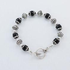 Bead & Silver plated copper Black Onyx Bead & Silver Bead bracelet #Handmade #Bangle