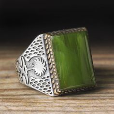 925 K Sterling Silver Man Ring Green Amber 9,5 US Size $34.90