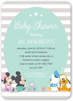 Baby Shower Invitation: Disney Mickey and Friends Stripe, Rounded Corners, Blue