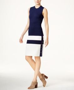 Tommy Hilfiger Colorblocked Sweater Dress, Only at Macy's