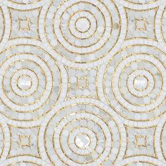 Orson, a hand-cut mosaic shown in Shell, honed Thassos, Gold Glass and polished Calacatta Pennyrounds, is part of the Aurora® collection by Sara Baldwin for New Ravenna. Calacatta Marble, Marble Mosaic, Mosaic Art, Mosaic Tiles, Tiling, Glass Tiles, Mosaic Drawing, Easy Mosaic, Mosaic Mirrors
