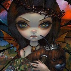 """Just a snippet close-up from one of my paintings debuting at my upcoming solo Corey Helford Gallery show (opening July16th in Downtown Los Angeles - I'll be there in person from 7pm-11pm - mark your calendars!) """"Unseelie Court:  Wrath"""" is the title of this lovely piece!  I'll have lots of new artwork at my show - """"Allusions and Allegories"""" -  #jasminebecketgriffith #fantasyart #painting #popsurrealism #coreyhelfordgallery #dtla #dtlaartsdistrict #strangeling #allusionsandallegories #chg…"""