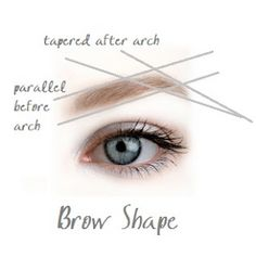 When shaping your brows, the part of the brow before the arch should be one thick line (a straight line, NOT a comma shape). That is, if you draw a line at the bottom of your brow, and another line at the top of the brow, those two lines should be parallel.