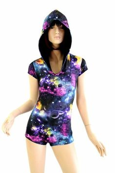 This bodysuit is made of lycra spandex in an out of this world galaxy print. e46e11419