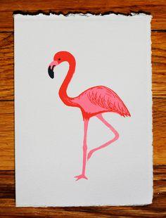 Flamingo blank greeting card by GoldTeethBrooklyn on Etsy, $5.00