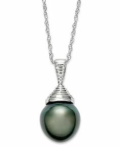 Pearl Necklace, Sterling Silver Cultured Tahitian Pearl Pendant (10mm) - Necklaces - Jewelry  Watches - Macy's