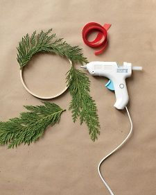 glue sprigs of wreaths to embroidery hoops for a #winter #christmas display
