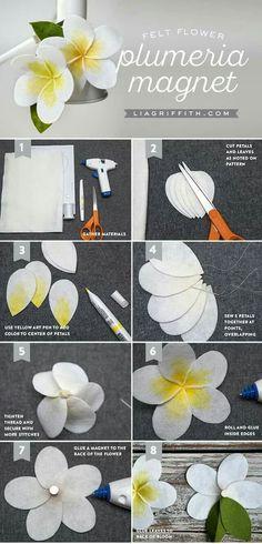 felt_plumeria_tutorial Paper crafts and paper flowers Paper Flowers Diy, Handmade Flowers, Flower Crafts, Fabric Flowers, Felt Diy, Felt Crafts, Paper Crafts, Diy Crafts, Diy Baby Headbands