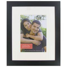 """5"""" x 7"""" Black Aluminum Frame with White Mat"""