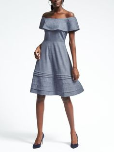 Chambray Off-Shoulder Dress | Banana Republic