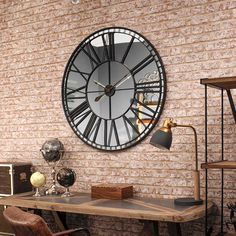 Oversized Skeleton Wall Clock Contemporary skeleton wall clock in black metal with mirrored face. Size 100 x x. Wall, Large Wall Clock Decor, Grey Clocks, Mirror Wall, Inside Decor, Big Wall Clocks, Mirror Wall Clock, Wall Clock Design, Clock