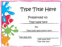 Attractive Printable Award Certificates For Kids In Editable Certificate Templates