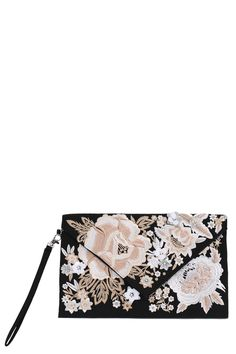 Floral Embroidery Envelope Clutch - BLACK