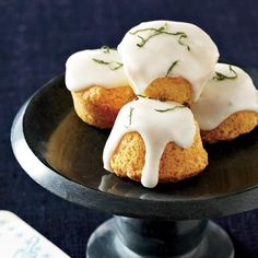 "Almond, Elderflower and Lime Travel Cakes | Inspired by French travel cakes (small sweets meant for bringing to parties, picnics and other events), William Werner created these miniature desserts. He calls them ""gussied-up pound cakes."""