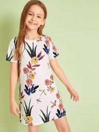 To find out about the Girls Dragonfly and Botanical Print Dress at SHEIN, part of our latest Girls Dresses ready to shop online today! Sweatshirt Dress, Tee Dress, Babydoll Dress, Girls Dresses Online, Short Sleeve Dresses, Dresses With Sleeves, Colorblock Dress, Belted Dress, Fit Flare Dress
