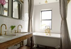 : Eclectic Bathroom Design Interior Applied Wooden Vanity And Grey Extra Long Shower Curtain Also Gold Claw Foot Tub Faucet Grey Linen Curtains, Gray Shower Curtains, Hang Curtains, Bathroom Curtains, Sheer Curtains, Brass Bathroom Fixtures, Wood Bathroom, Bathroom Ideas, Master Bathroom