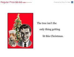 20% OFF Christmas Humor, Vintage Image Greeting Card - Blank