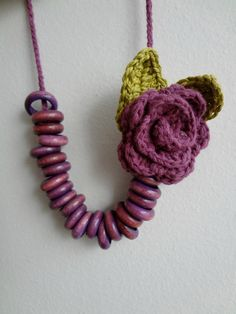 Crocheted+rose+necklace+wooden+beads+crochet++flowers+by+sewella,+$20.00