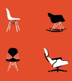 Eames poster art print Mid Century Modern Chair illustration Retro