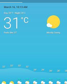 Mostly really hot at 10.15am