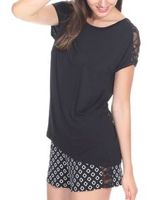 Look at this Black Geometric Lace-Trim Pajama Set on #zulily today!