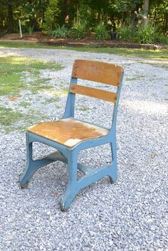 Vintage School Chair Child Size Blue Metal Wood by PanchosPorch