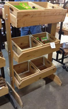 Rustic wood toy retail display with removable crates. These are awesome storage space and custom staining is available! http://jbrothersandcompany.com