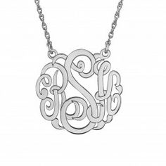 20 mm monogram necklace available in sterling silver, 10kt or 14kt gold staring at $229.00 802-10001