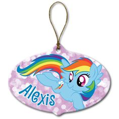 My Little Pony Rainbow Dash Ornament - Bring the magic of friendship to your Christmas décor with the spectacular My Little Pony Ornament. Featuring the loyal and kind Rainbow Dash, this ornament can be personalized with a name up to 10 characters long. My Little Pony Fotos, My Little Pony Pictures, My Little Pony Twilight, Personalized Christmas Gifts, Personalized Ornaments, Holiday Tree, Holiday Ornaments, Geek Movies, Hama Beads Minecraft