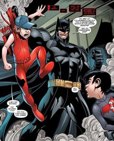 Batman- Jason and Roy? What's this from? They look too little to be dressed like Red Hood and Arsenal.